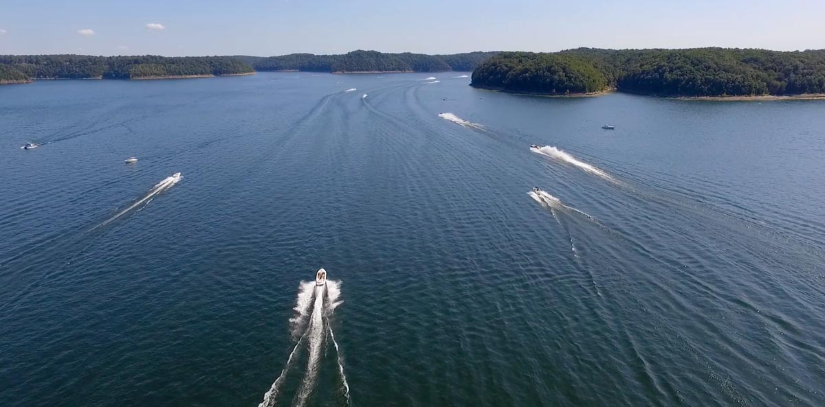 Boats on Lake Cumberland in Russell County, Kentucky